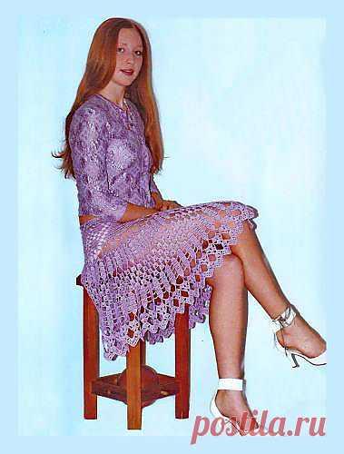 Ажурная сиреневая юбка с оборками. Схема вязания крючком юбки. - Схемы вязания юбки - Схемы для вязания - Уроки вязания крючком - Вязание крючком, мотивы, схемы для вязания крючком