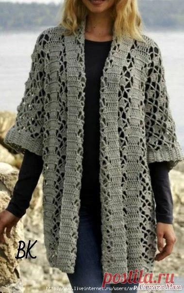 Ажурный кардиган   Женская одежда крючком. Схемы и описание