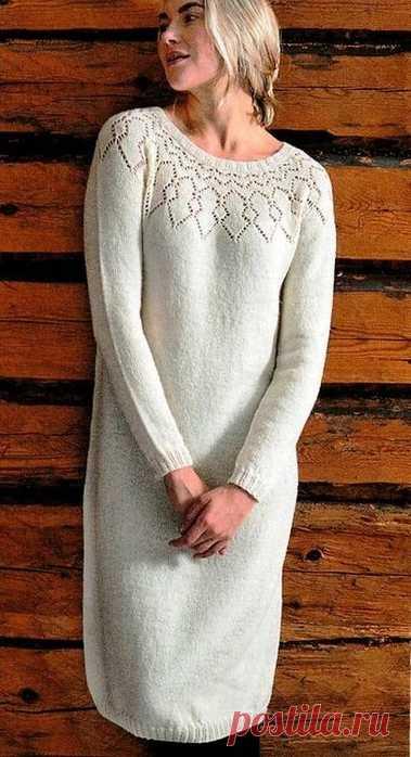 Платье спицами с ажурной кокеткой - женственно и элегантно