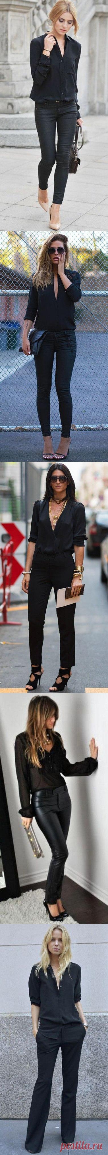 Черные блузы и образы с ними — Модно / Nemodno