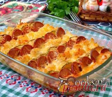 Запеканка из макарон с сардельками и кабачками фото рецепт приготовления