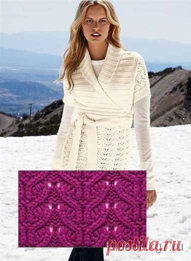 эффектное платье с запахом спицами модель с осинки вязание постила