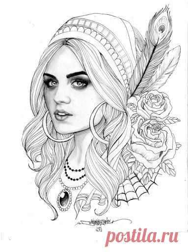 раскраски для взрослых девушки (13) | Рисовака | КАРТИНКИ ...