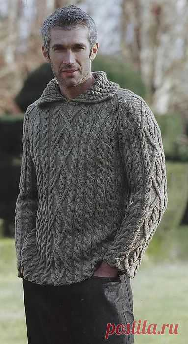 Мужской пуловер с косами.