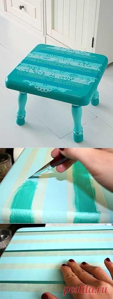 Необычный кружевной рисунок на стуле (Diy) / Мебель / Модный сайт о стильной переделке одежды и интерьера