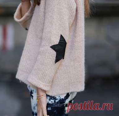 Свитер с кожаными заплатками на локтях / Свитер / Модный сайт о стильной переделке одежды и интерьера