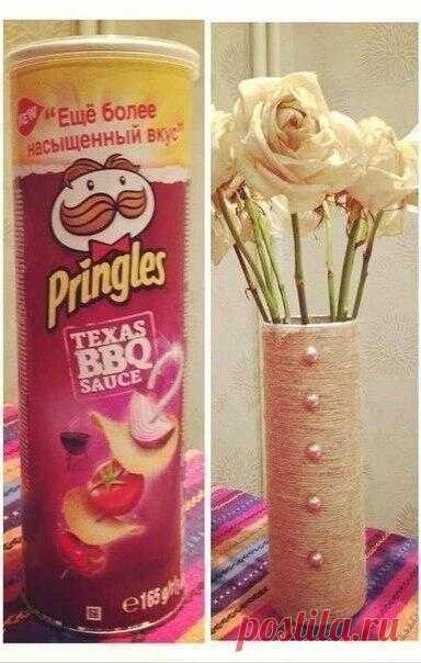 Оригинальная ваза из коробки чипсов