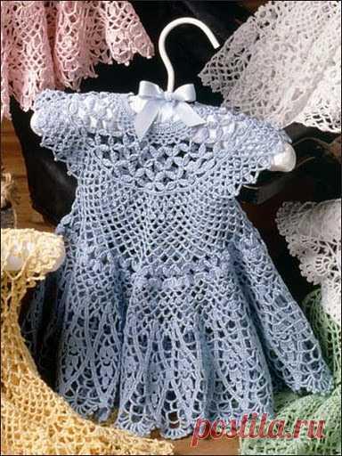 вязание детского платья крючком для девочки ажурное платье на