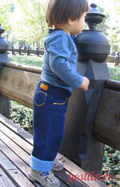 Вязаные джинсы.