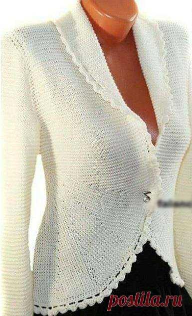 Элегантный жакет платочной вязкой . Милая Я