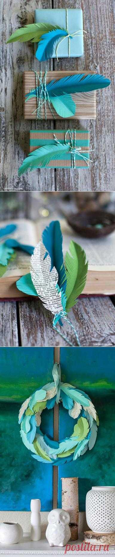 Красивые перышки из бумаги. Шаблоны перьев
