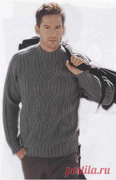 Серый свитер с косами | Шкатулочка для рукодельниц