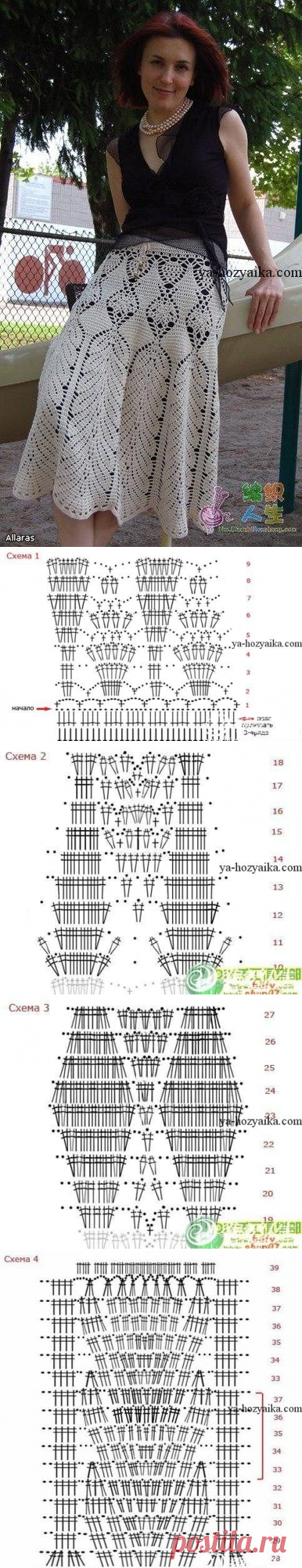 Летняя юбка крючком схема. Юбки с ажурным узором для женщин