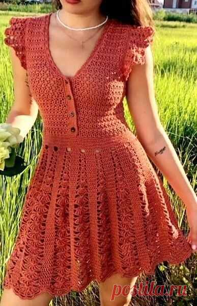 #вязаное_платье@modnoe.vyazanie Летнее платье. Схема.