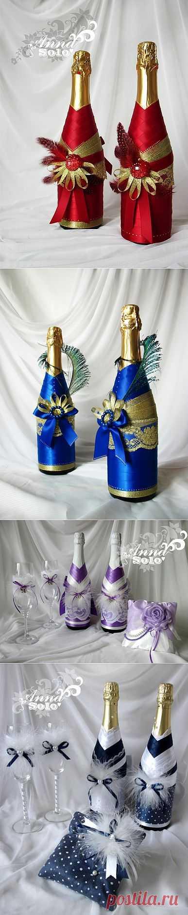 Декор бутылки атласными лентами