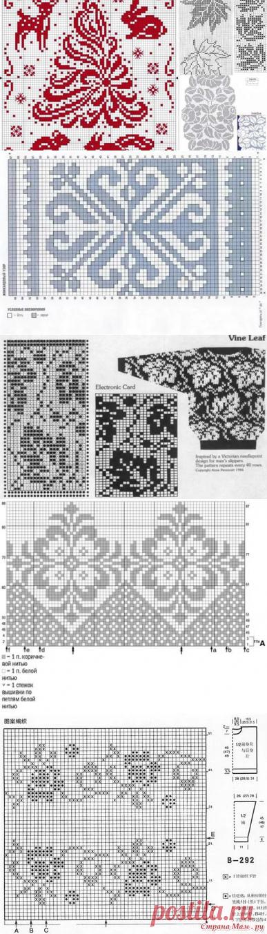 жаккардовые узоры спицами со схемами простые и красивые: 11 тыс изображений найдено в Яндекс.Картинках