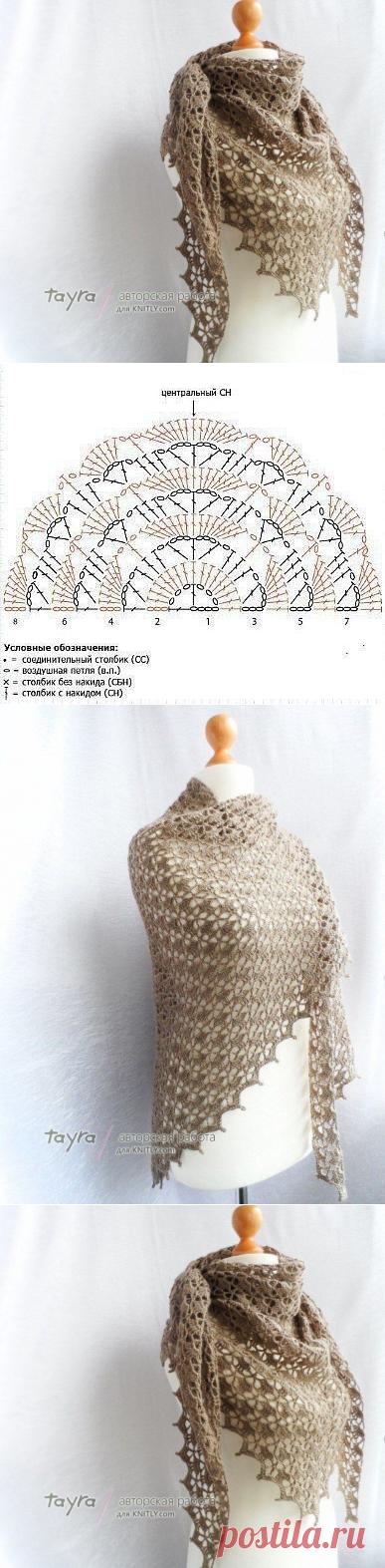 Ажурная шаль. Описание вязания (Вязание крючком) – Журнал Вдохновение Рукодельницы