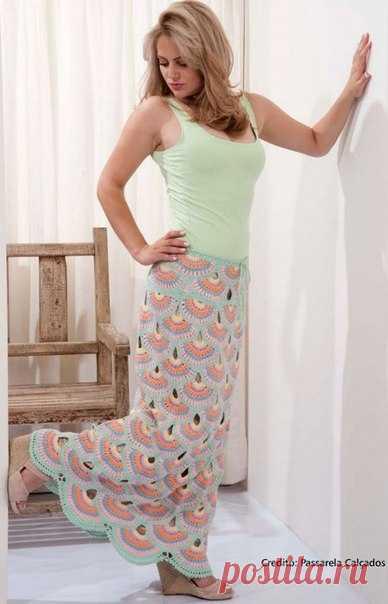 Длинная летняя юбка вязаная крючком схемы. Как связать летнюю юбку крючком. | Лаборатория домашнего хозяйства
