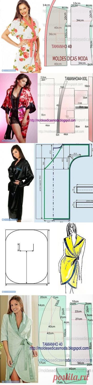 Много вариантов халатов с простыми выкройками — Сделай сам, идеи для творчества - DIY Ideas