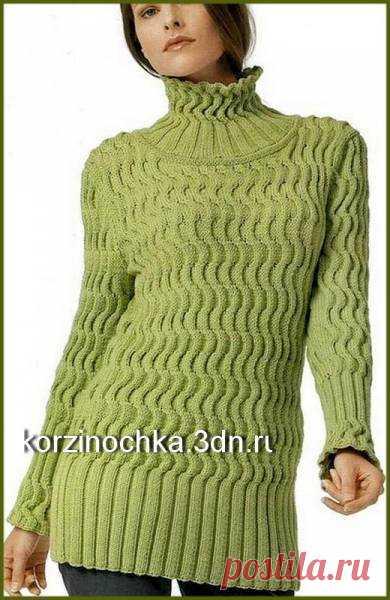 длинный вязаный спицами свитер с косами 11 января 2016 вязание