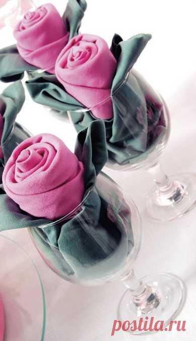Роза из салфетки. (Описание по клику на картинку).