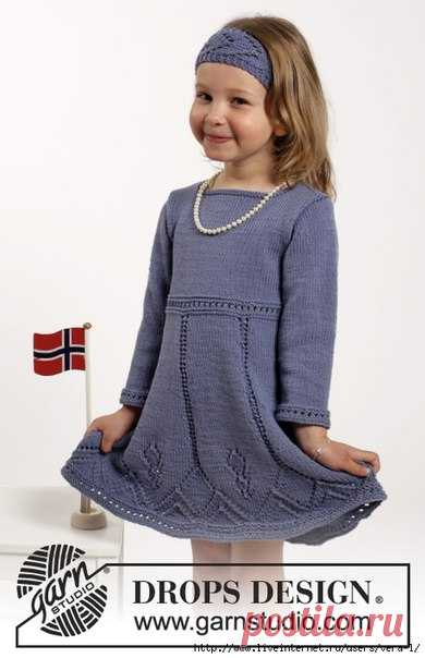платье для девочки с длинным рукавом и повязка вязание спицами