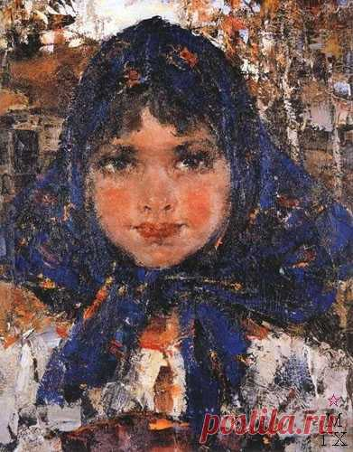 Портрет девочки в синем платке