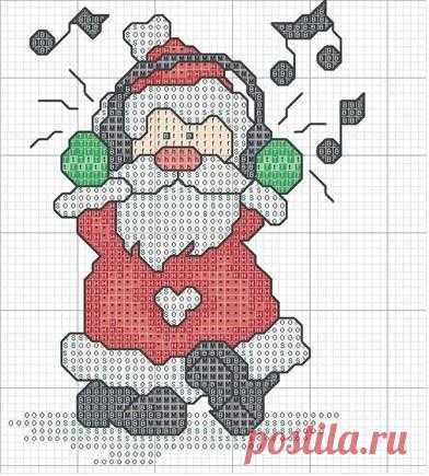 Babbo Natale Punto Croce Schemi Gratis.Babbo Natale Che Ascolta La Musica Magiedifilo It Punto Croce