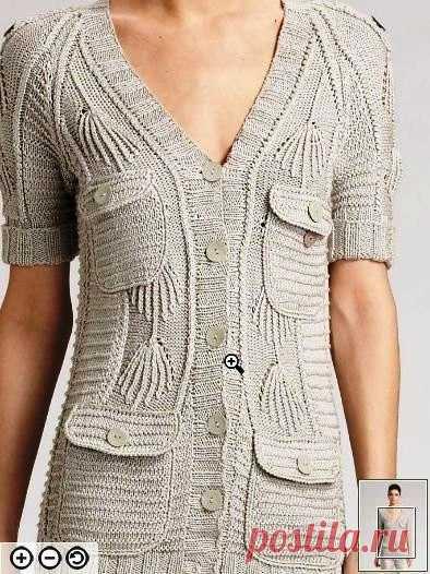СЕРЫЙ ЖАКЕТ с карманами узором из патентной резинки и платочного вязания