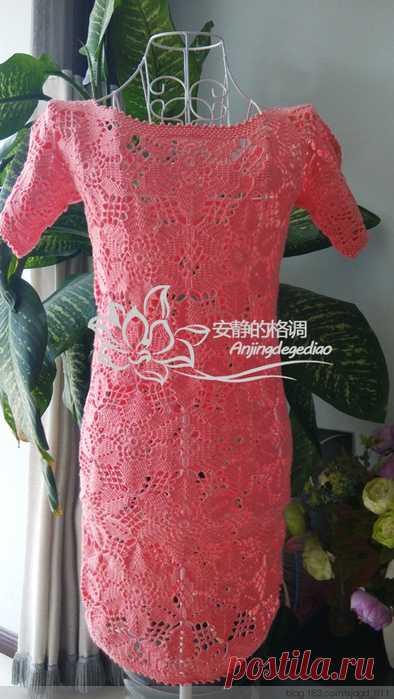 Красивое летнее платье из круглых мотивов+СХЕМЫ. Безотрывное вязание мотивов крючком   Домоводство для всей семьи.