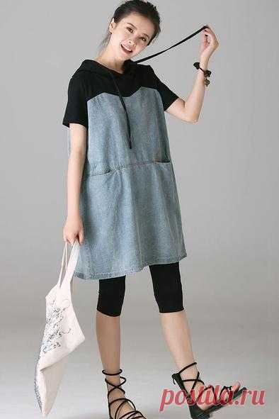 f09f0c91ef Casual Hoodie Denim Dresses Women Cotton Clothes Q1838 – FantasyLinen