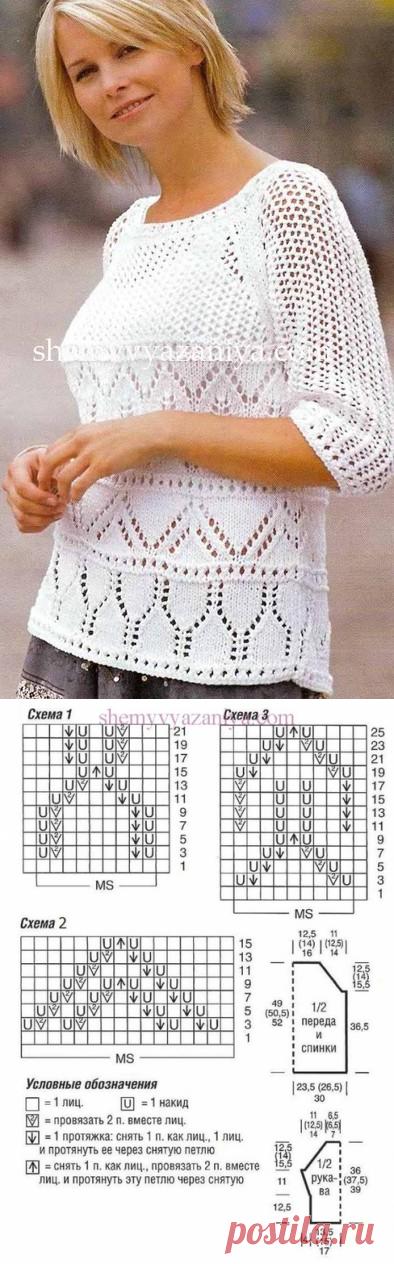 Пуловер-реглан с ажурными и сетчатым узором