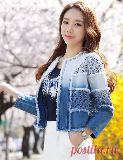 Gradient Lace Embrodiery Denim Jacket Korean Women's Fashion Shopping Mall, Styleonme. N