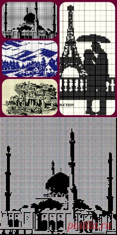 Городская тема в филейном вязании - подборка схем | Левреткоман-оч.умелец | Яндекс Дзен