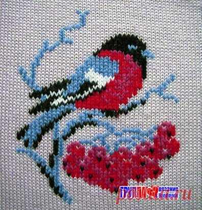 вышивка по вязаному полотну петельный шов или петля в петлю в