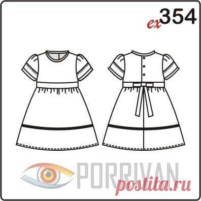 95c38c766d4 Выкройка платья с рукавами фонарик для девочки 2-8 лет - Porrivan Выкройка  платья для