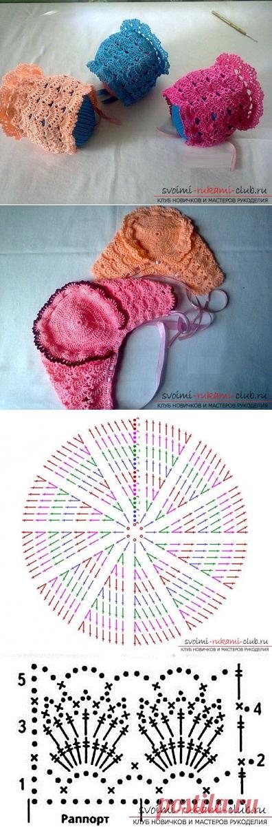 Как связать ажурный летний чепчик для новорожденного крючком, схемы, описание работы и фото изделий