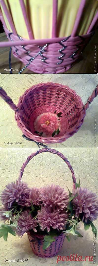 >оригинальное плетение из газетных трубочек.
