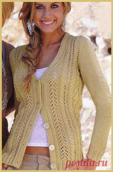 Жакет песочного цвета с ажурными узорами #knitting #вязание_спицами #жакеты_спицами