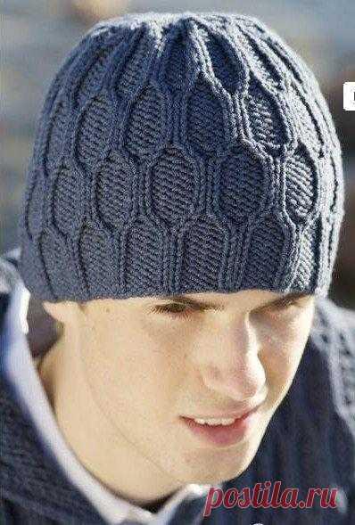 мужская шапка спицами вязание спицами постила
