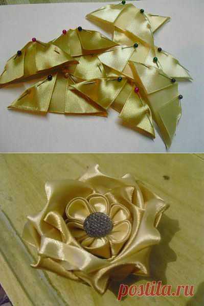 Домашняя волшебница - Мастер-класс МК Оригинальная роза канзаши (автор иринка)