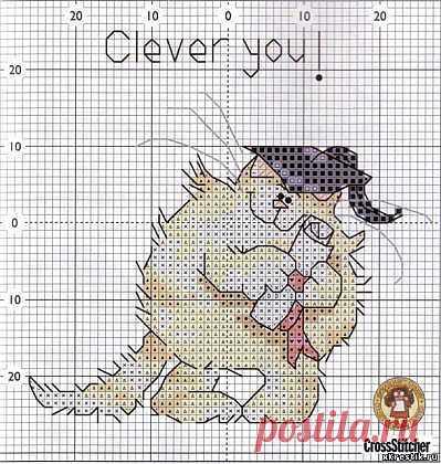 Схема для вышивки крестом: Кот ученный - Животные - Каталог статей - Бесплатные схемы для вышивки крестом