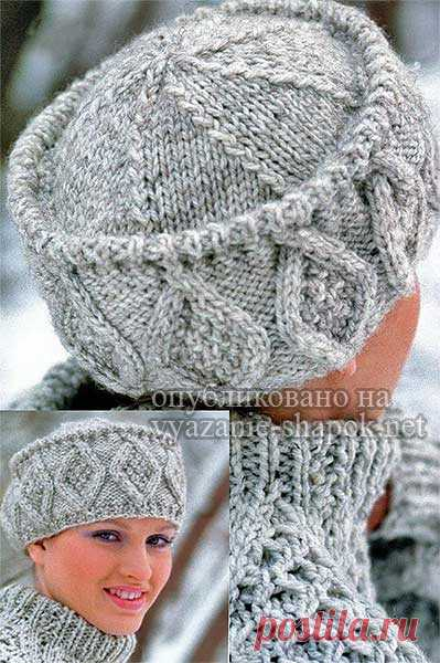 шапка кубанка спицами и крючком красивая модель с аранами