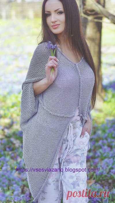 Серый свитер-шаль: стильная простота!