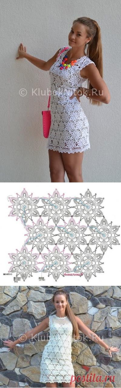 Летнее белое платье из мотивов   Вязание для женщин   Вязание спицами и крючком. Схемы вязания.