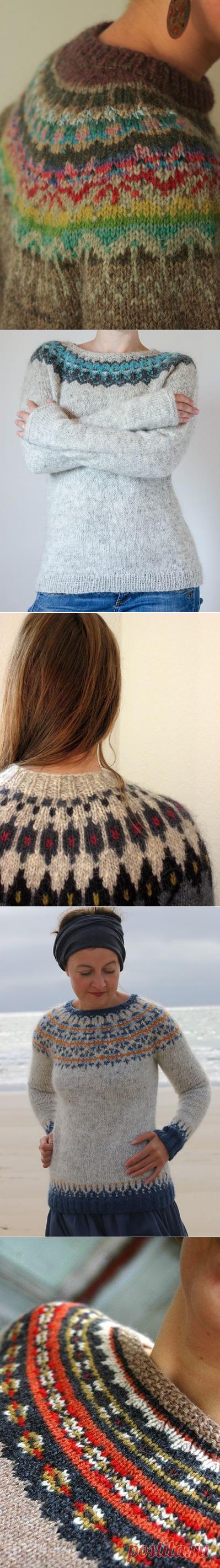 Исландский свитер с круглой кокеткой Lopapeysa | Knit-Tweed.Идеи.
