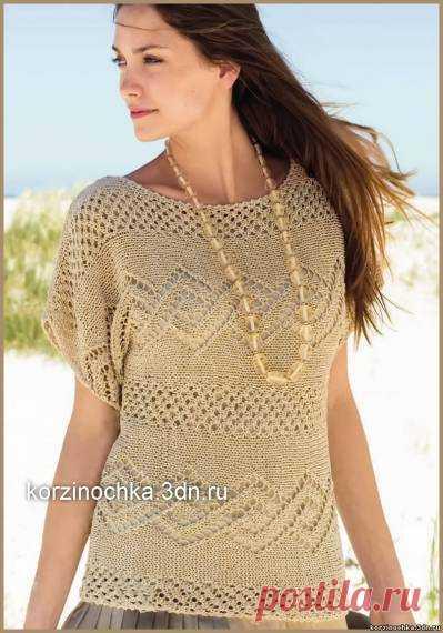 летний пуловер с ажурными узорами 11 июля 2014 вязание спицами