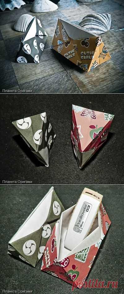 Красивая треугольная коробочка для канцелярских приборов