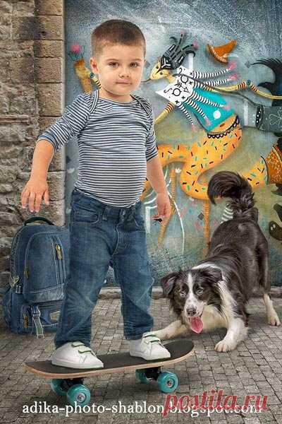 """Детский фотошаблон в PSD """"Граффити и скейт"""""""