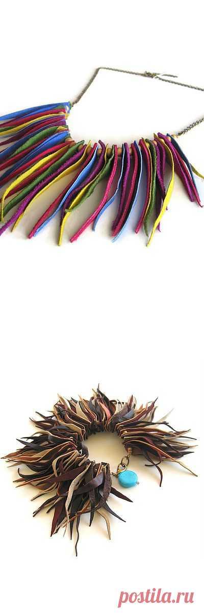 Бусы,браслет из остатков кожи / Украшения и бижутерия / Модный сайт о стильной переделке одежды и интерьера